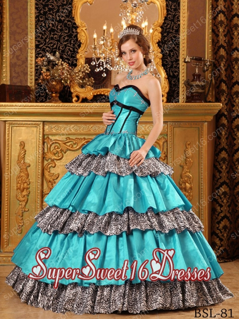 Cheap Ball Gown Sweetheart Taffeta Ruffles Turquoise Sweet Sixteen ...