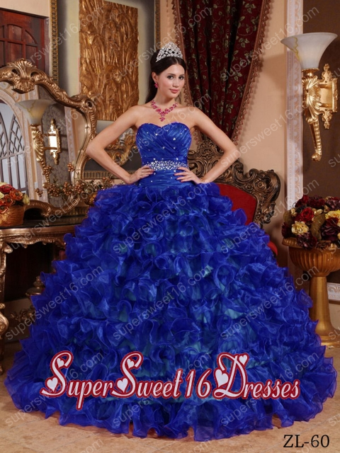 Royal Blue Ball Gown Sweetheart Organza Beading Cheap Sweet ...