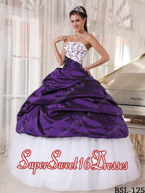 Ball Gown Strapless White and Purple Embroidery Elegant Sweet 16 ...