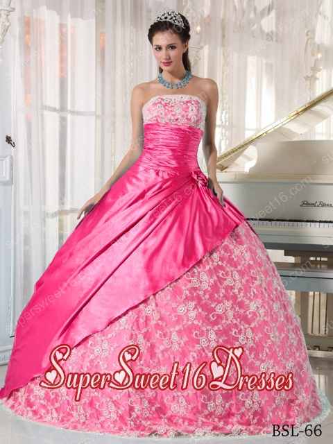 Pink Ball Gown Strapless Floorlength Taffeta Lace 15th Birthday