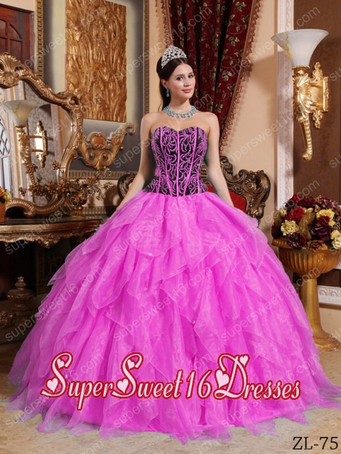 Sweetheart Embroidery with 15th Birthday Party Dresses in Hot Pink