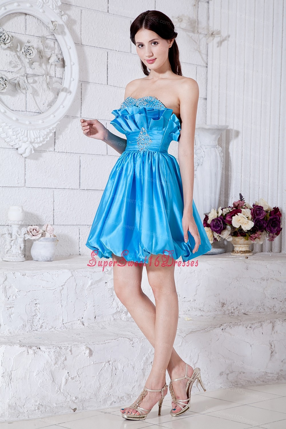 Aqua Blue / Pricess Strapless Mini-length Taffeta Beading Dama ...