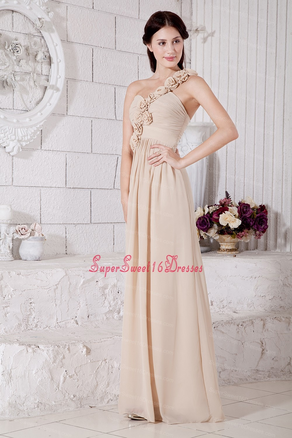 Champagne Empire One Shoulder Floor-length Chiffon Hand Made Flowers ...