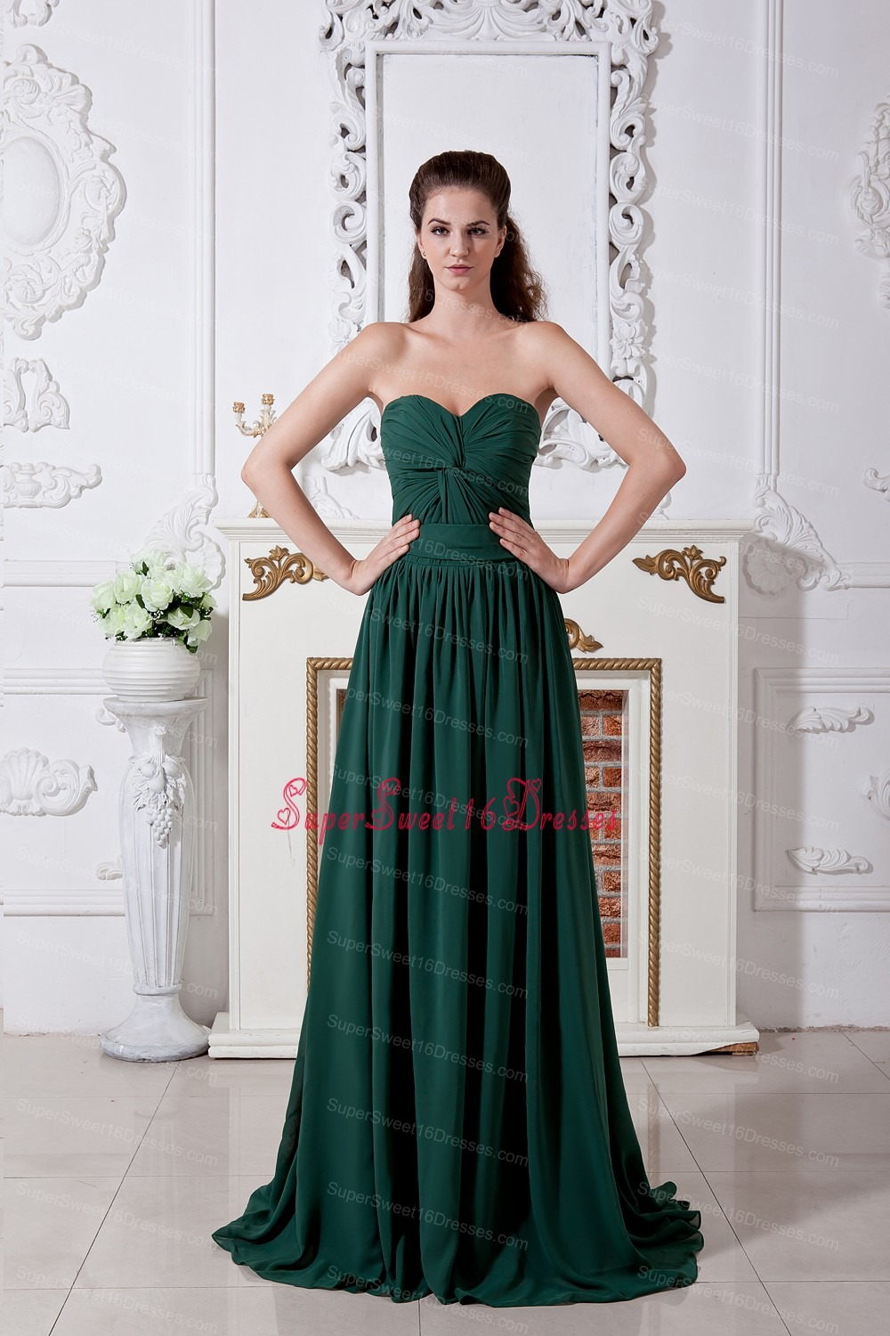 Green Empire Sweetheart Brush Train Chiffon Ruch Dama Dresses for ...