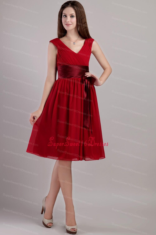 Red Knee Length Chiffon Dress - Dress images