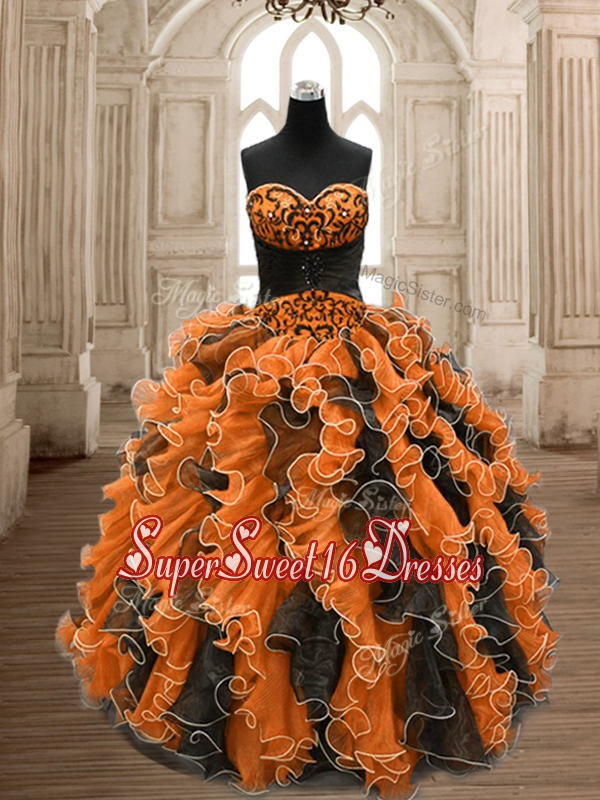 Perfect Orange and Black Sweet 16 Dress with Beading and Ruffles