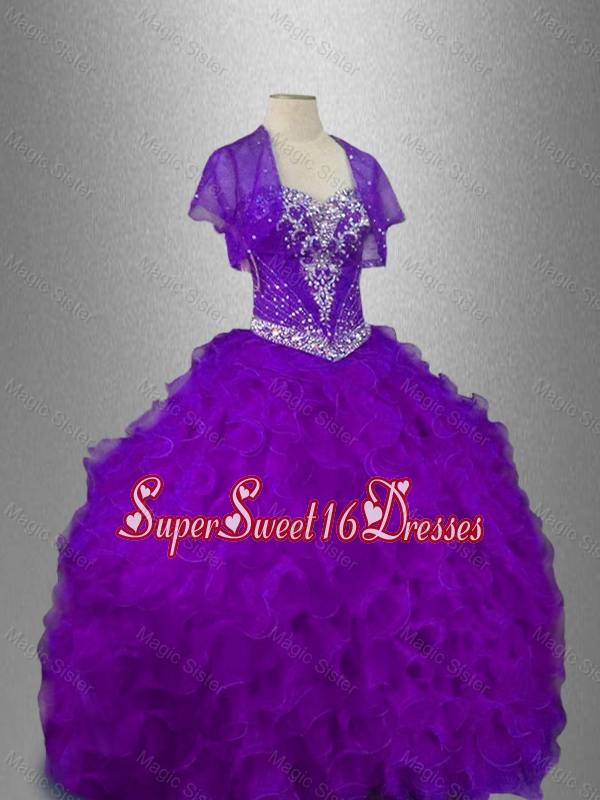 Best Selling Beaded Sweetheart Quinceanera Gowns in Purple