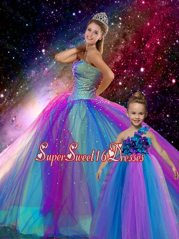2015 Winter Classical Ball Gown Sweetheart Multi Color Macthing Sister Dresses with Beading
