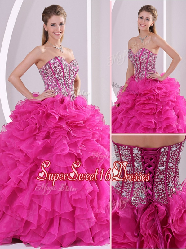 Beautiful Fuchsia Ball Gown Sweetheart Quinceanera Dresses