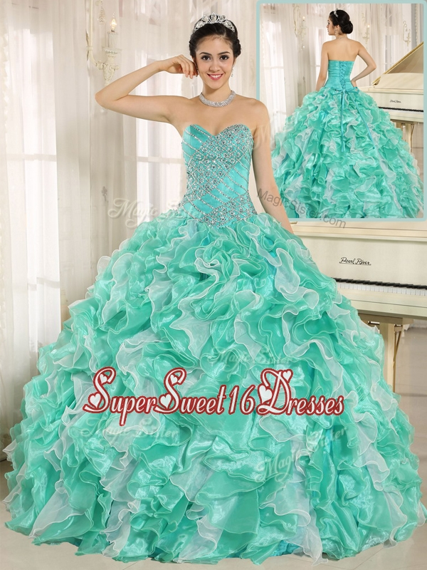 Modern Beading and Ruffles Apple Green Quinceanera Dresses