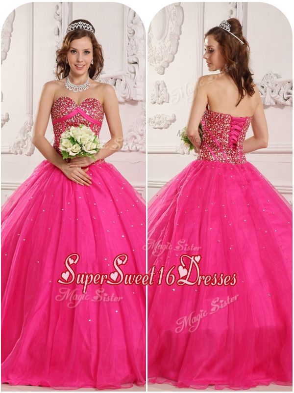 Perfect A Line Beading Quinceanera Gowns in Hot Pink