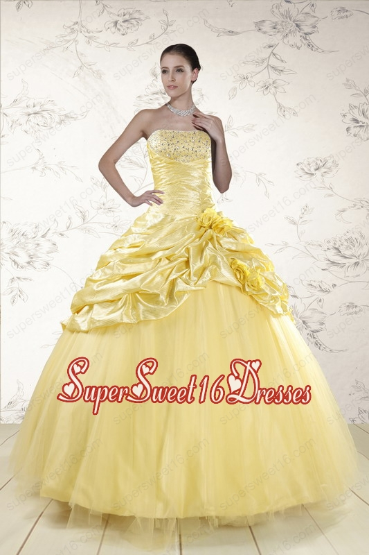 Cheap Yellow Sweetheart Ball Gown Quinceanera Dresses for