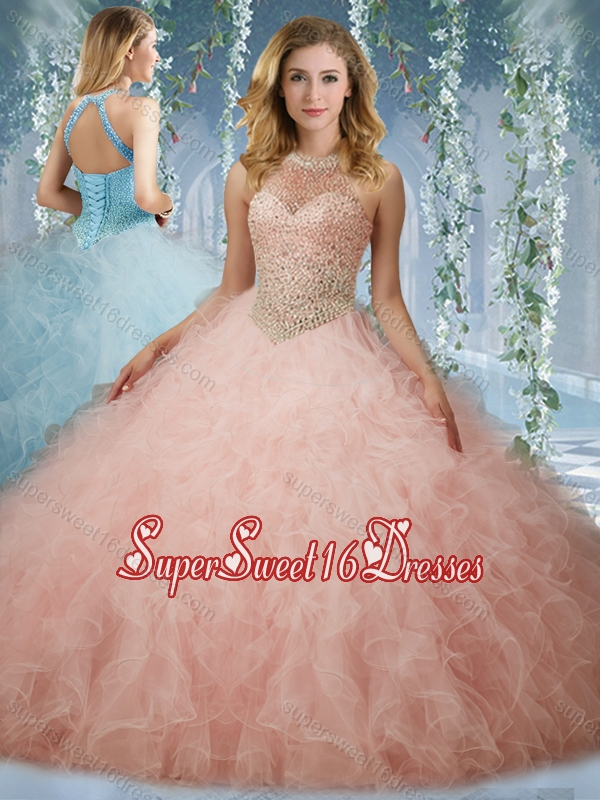 47bdf6194d1 Elegant Beaded Bodice Baby Pink 15th Birthday Party Dress with ...