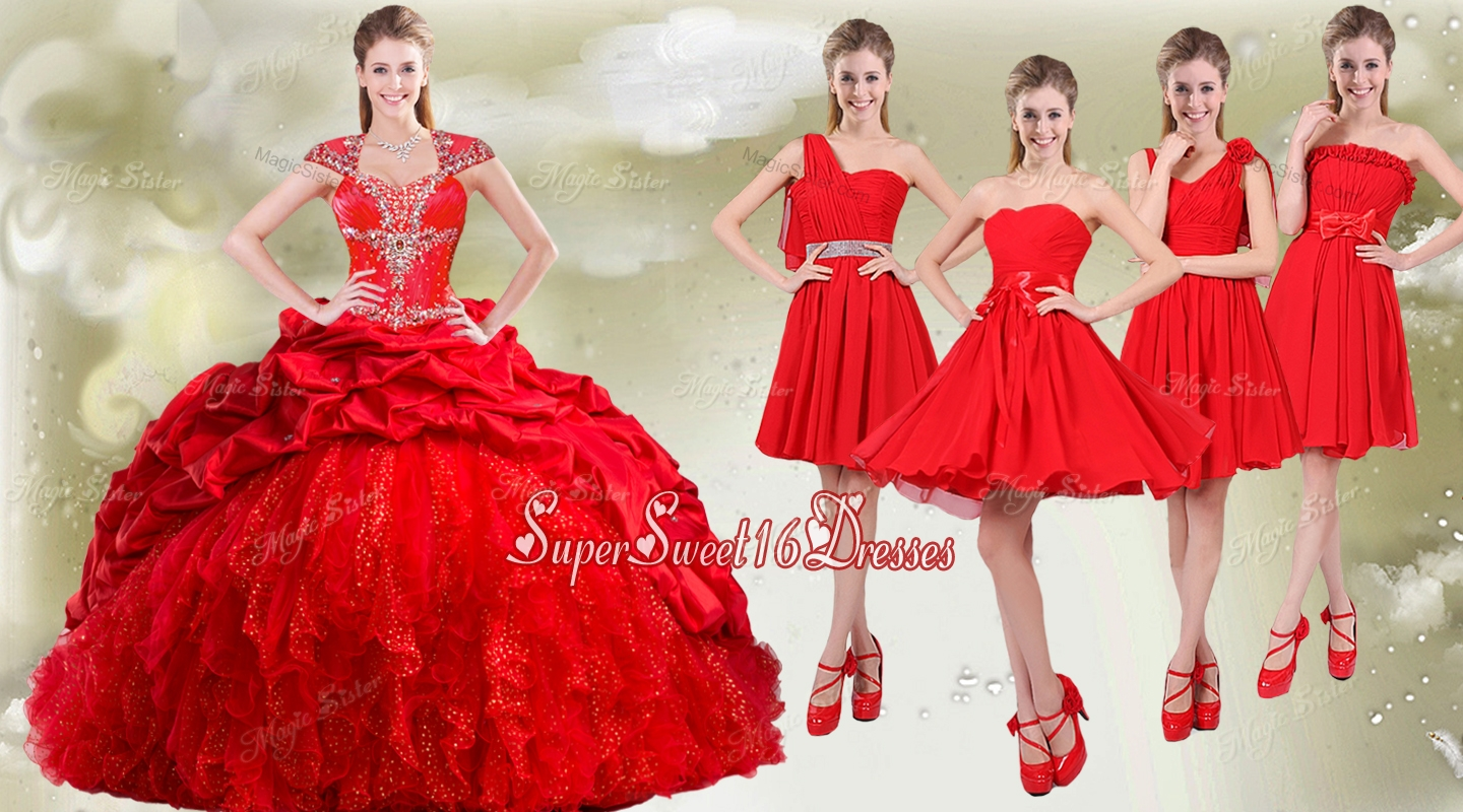 Popular Cap Sleeves Quinceanera Dress and Beautiful Chiffon Short Dama Dresses in Red