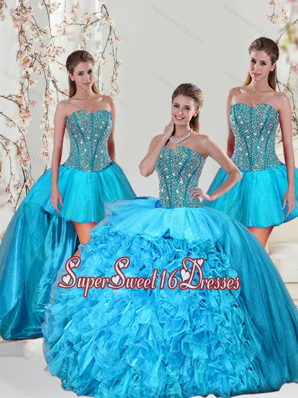 Detachable Aqua Blue Quinceanera Dresses with Beading and Ruffles for 2015