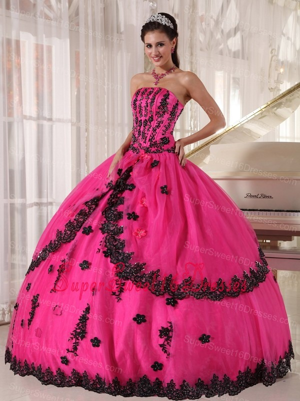 Strapless Appliques Sweet 16 Quinceanera Gowns Puffy Hot Pink ...