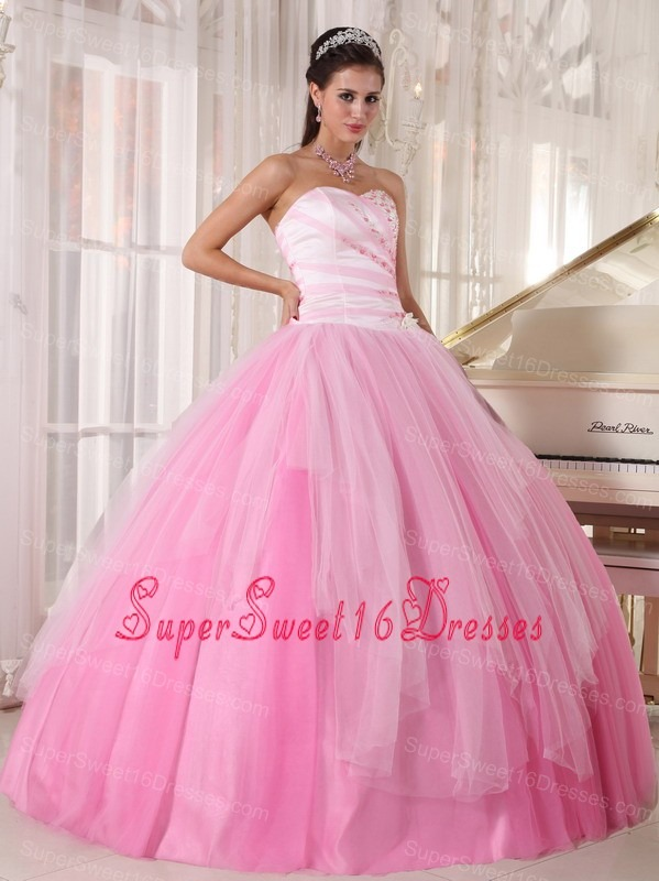 Pink Sweetheart Tulle Beading Sweet 16 Quinceanera Dress for Sweet ...