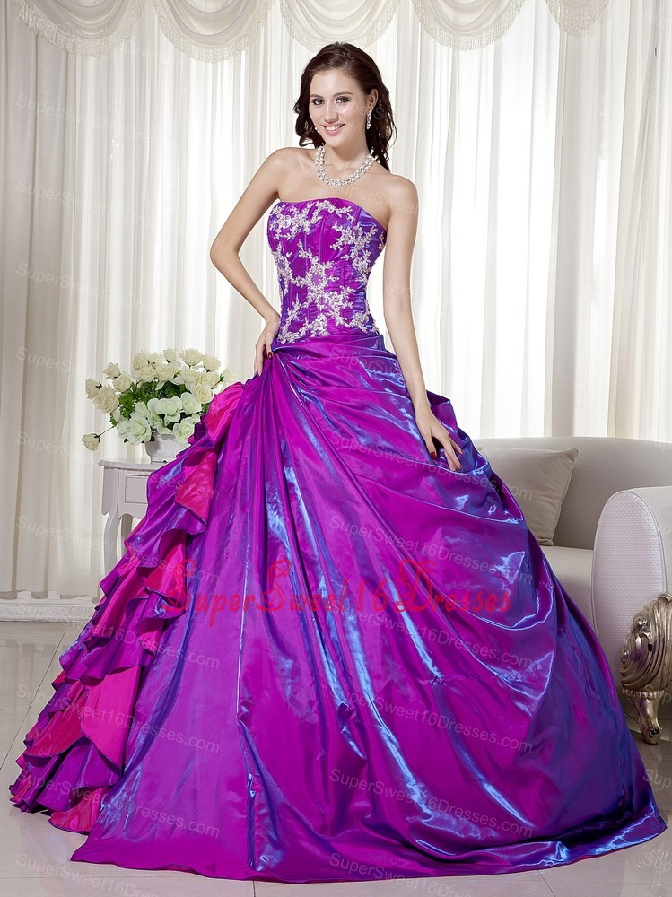 Strapless Taffeta Appliques Sweet 16 Quinceanera Dress Purple Sweet ...