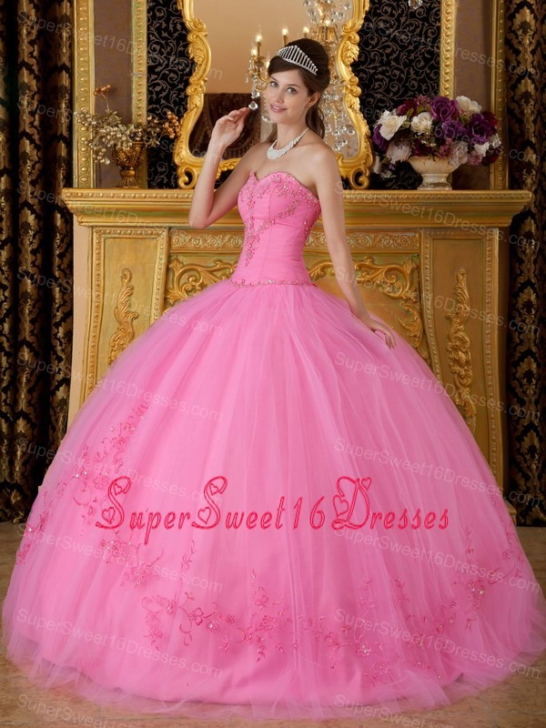 Discount Rose Pink Sweet 16 Dress Sweetheart Tulle Appliques Ball Gown