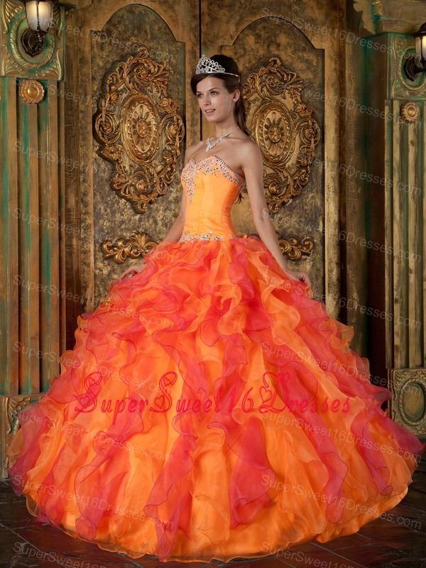 Orange Sweet 16 Quinceanera Dress Ruffles Decorate Under 200