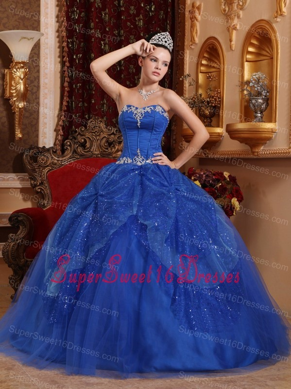 Blue Sweet 16 Quinceanera Dress Sweetheart Beading and Appliques Full
