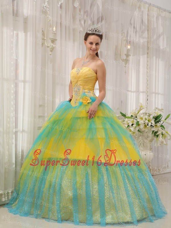 Yellow and Blue Sweet 16 Quinceanera Dress Strapless Tulle Beading ...