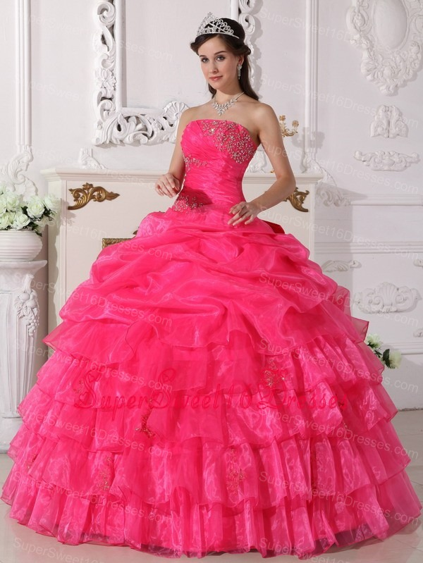 Hot Pink Appliques Layered Ruffles Strapless Sweet 16 Quinceanera Gown