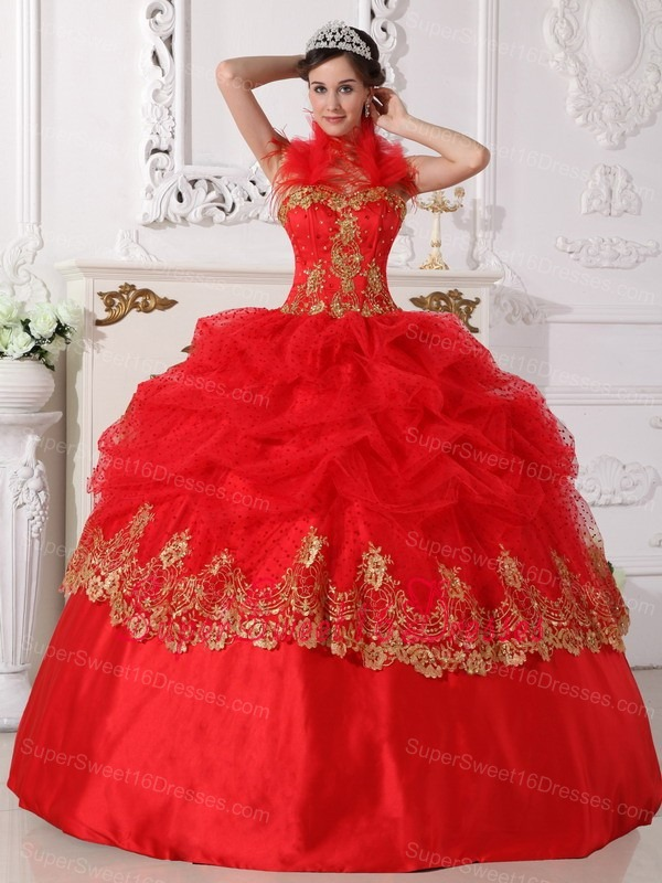 Red And Gold Plus Size Sweet 16 Quinceanera Dresses For Big Girls