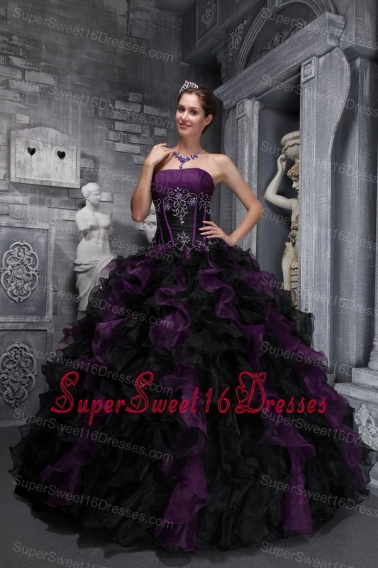 Strapless Ruffles Appliques Drak Purple and Black Sweet 16 ...