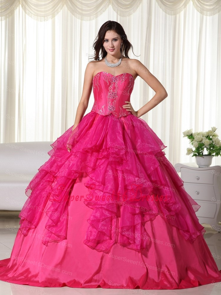 Organza Embroidery Sweetheart Designers Sweet 16 Dress Hot Pink ...