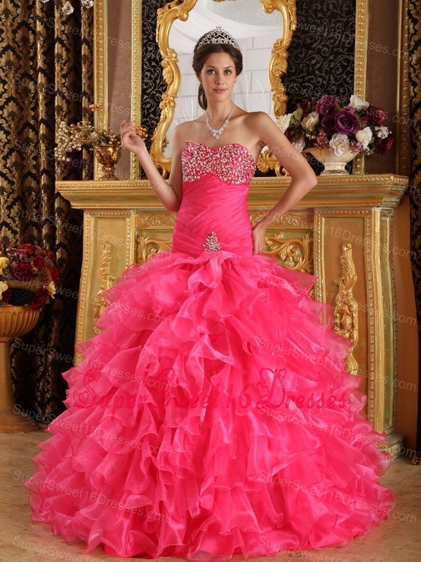 2013 Designer Hot Pink Organza Beading Sweet 16 Quinceanera Dress