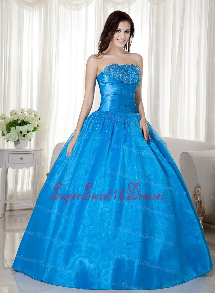 Sky Blue Strapless Beading ruched Broad Sash For Sweet 16 Quinceanera