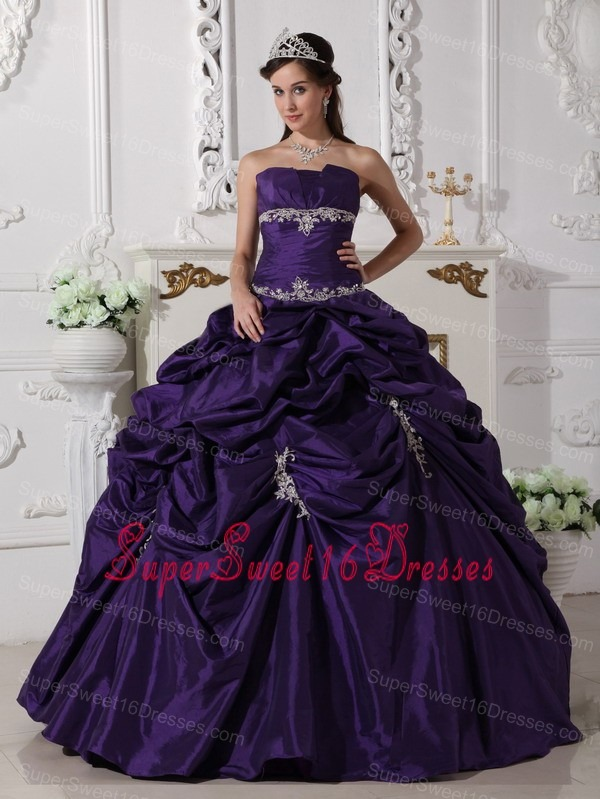 Cheap Dark Purple Sweet 16 Quinceanera Dress Appliques Decorated ...
