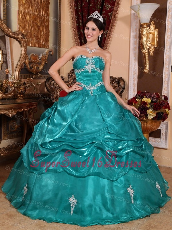 Turquoise Organza Sweet 16 Quinceanera Dress With Appliques And ...