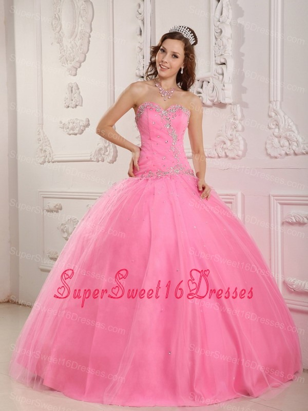 Plus Size Rose Pink Sweet 16 Quinceanera Dress For Big Girls