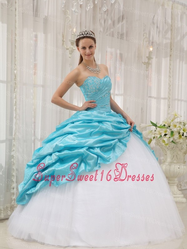 Beading Ball Gown Sweetheart Aqua Blue and White