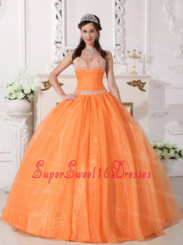 Orange Strapless Sweet 16 Quinceanera Gown White Appliques Puffy