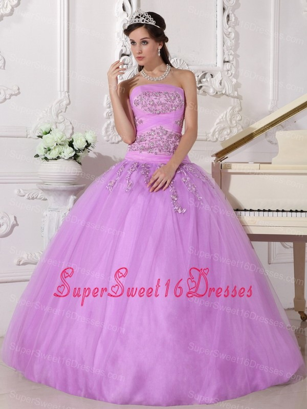Lavender Beading Strapless Sweet 16 Quinceanera Gown Puffy Under 200