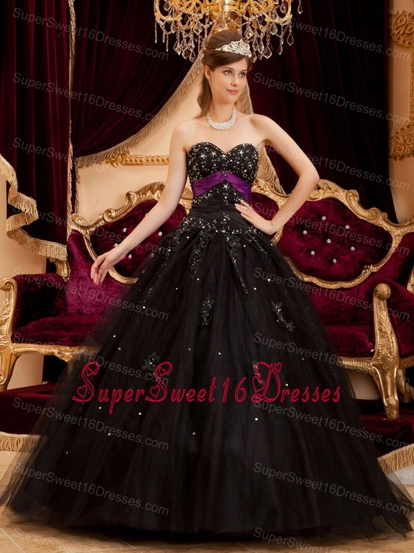 Black Sweetheart Strapless Appliques Tulle Sweet 16 Quinceanera ...