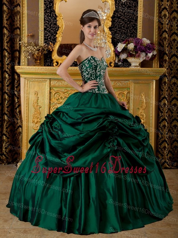 Dark Green Embroidery Sweetheart Sweet 16 Dress Floor-length Taffeta
