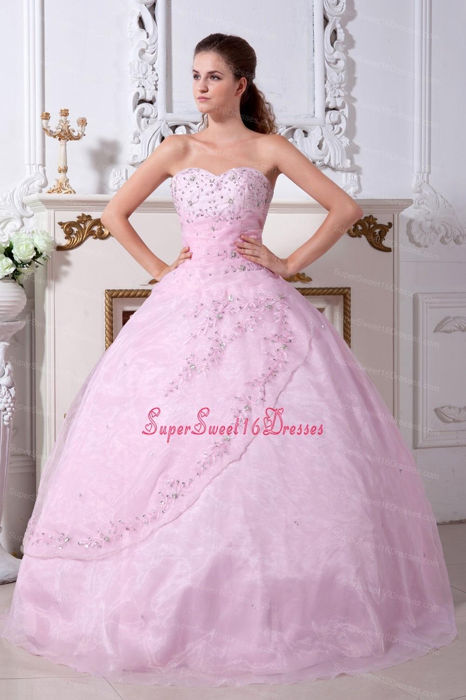 Baby Pink Sweet 16 Quinceanera Dress Sweetheart Organza Beading