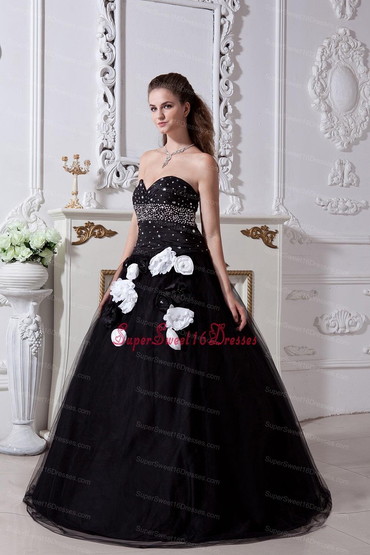 Black Sweet 16 Sweetheart Organza Beading Flowers