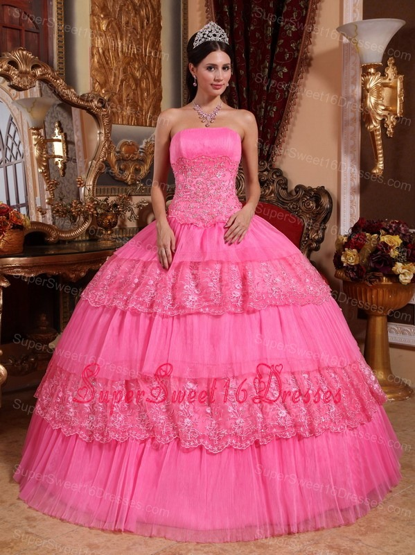 Lovely Rose Pink Sweet 16 Dress Strapless Organza Lace Appliques Ball Gown