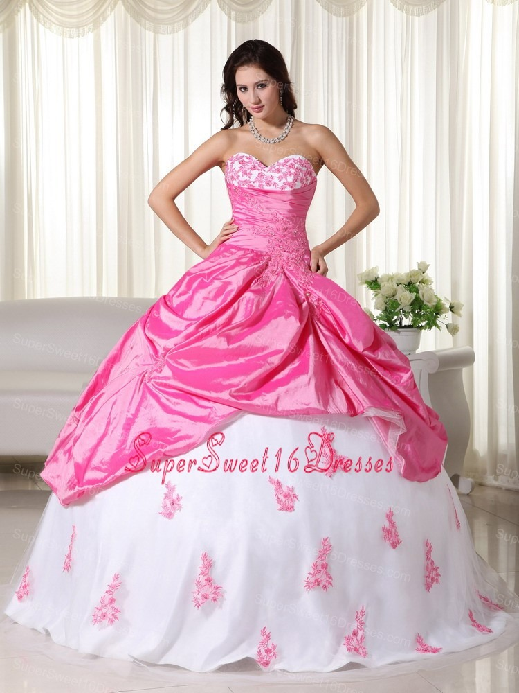Pink And White Sweet Sixteen Dresses,Pink And White Dress for ...