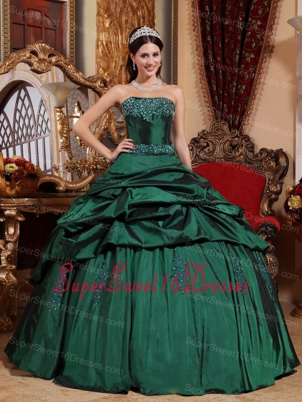Emerald Green Sweet Sixteen Quinceanera Dress Strapless Beading