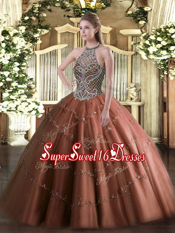 Sexy Tulle Sleeveless Floor Length Quinceanera Dresses and Beading