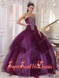 Ball Gown Strapless Tulle 2013 Sweet 16 Dresses with Beading