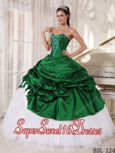 Ball Gown Sweetheart Appliques 2013 Sweet 16 Dresses in Green and White
