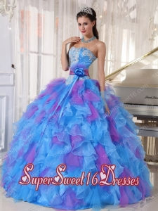 Ball Gown Sweetheart Appliques and Ruffles Organza 2013 Sweet 16 Dresses