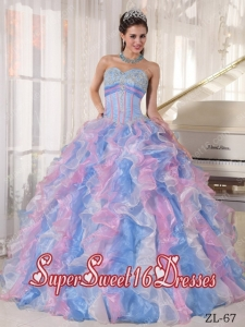 Ball Gown Sweetheart Organza Appliques 2013 Sweet 16 Dresses in Multi-color
